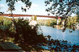 [photo, Potomac River at Shepherdstown Bridge, near where James Rumsey in 1787 launched first steamboat]