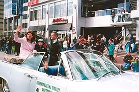 [photo, Governor Martin J. O'Malley and family, St. Patrick's Day Parade, East Pratt St., Baltimore, Maryland]